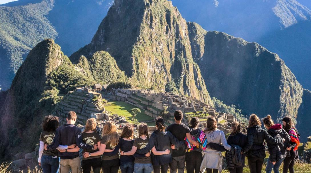 Projects Abroad volunteers overlooking Bucket List Destination Machu Picchu